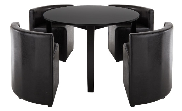 Black Circular Dining Table With 4 Hideaway Chairs