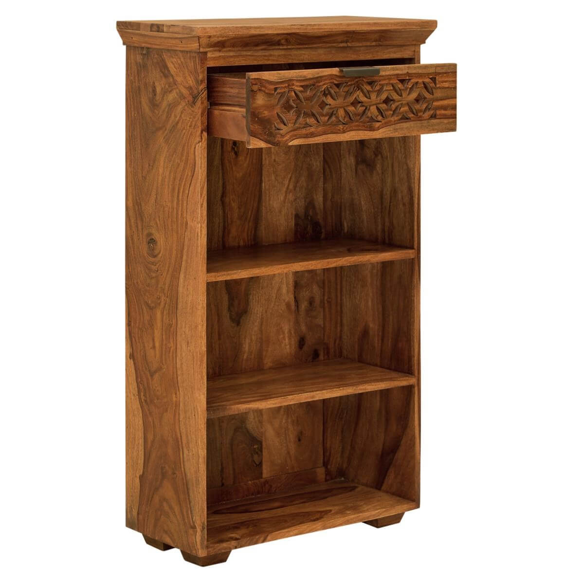 small sheesham bookcase with a drawer and fretwork detailing