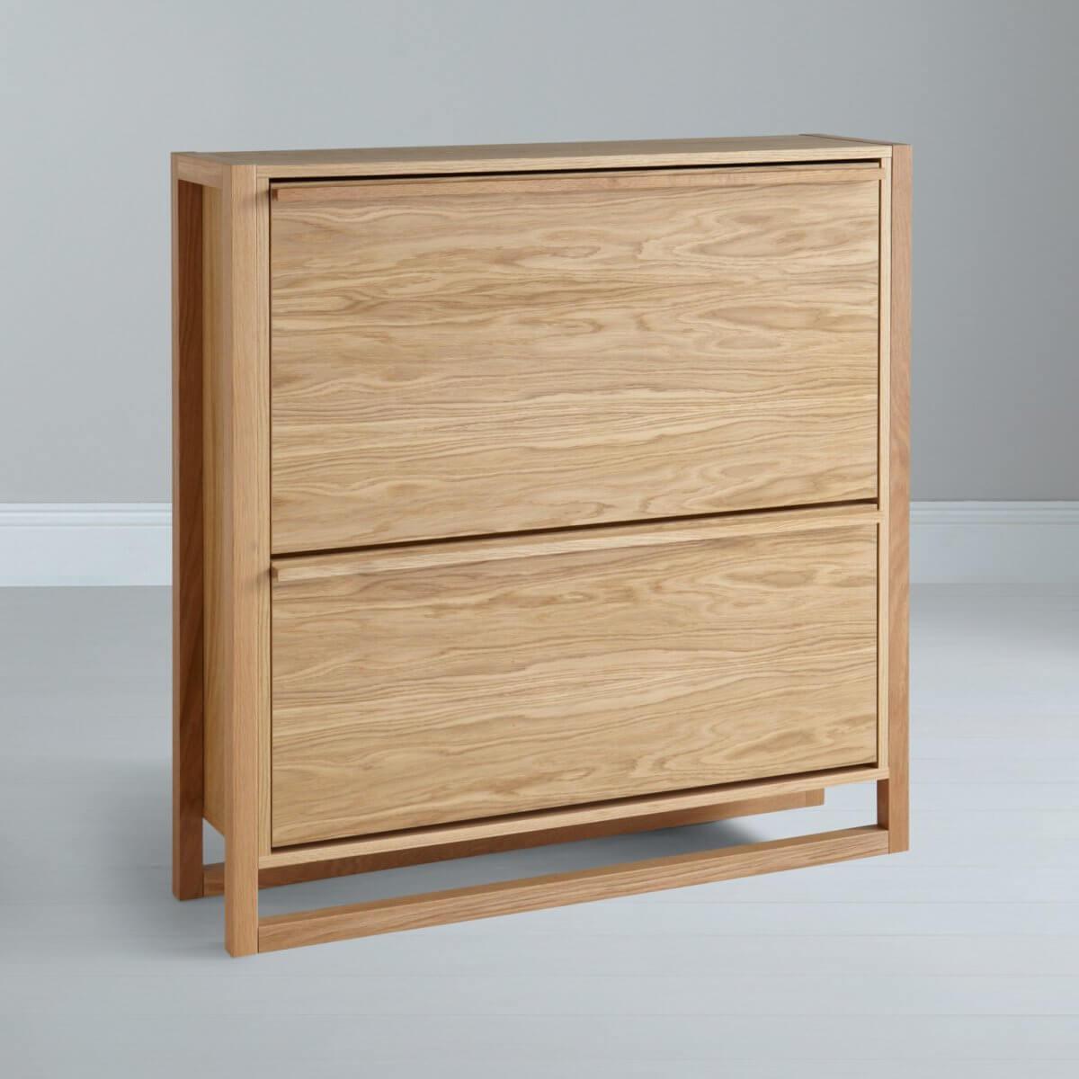 Oak veneer shoe cabinet with 2 drawers