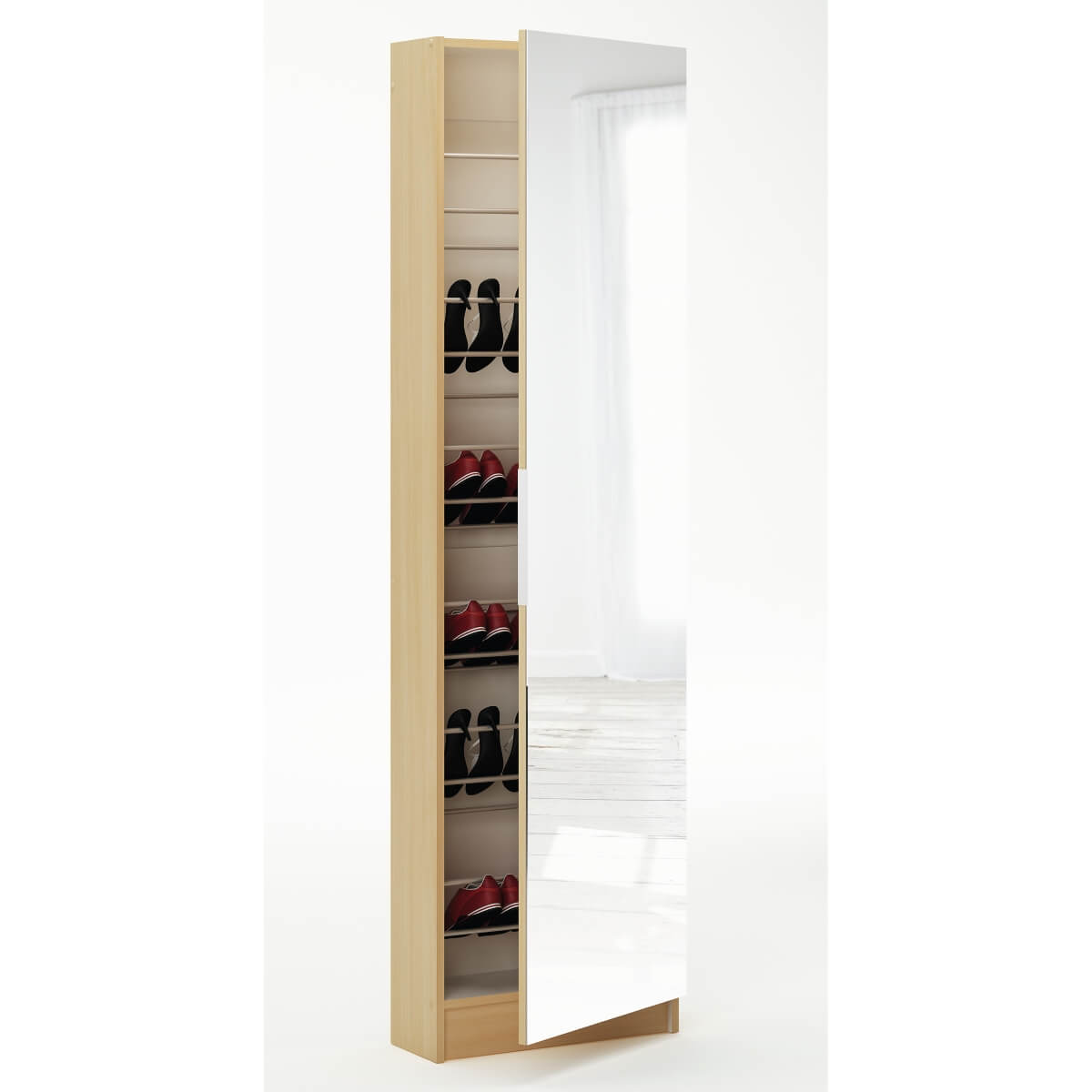Tall shoe cupboard with mirrored door