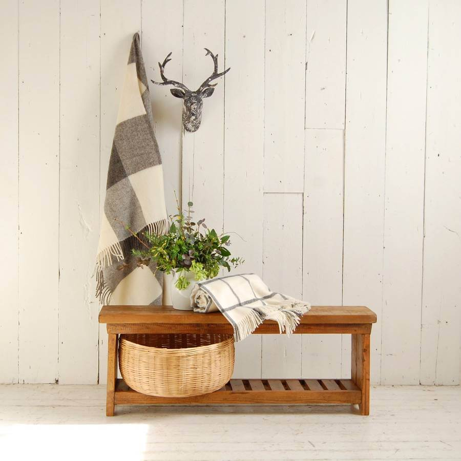 Wood bench with slatted shoe or storage rack