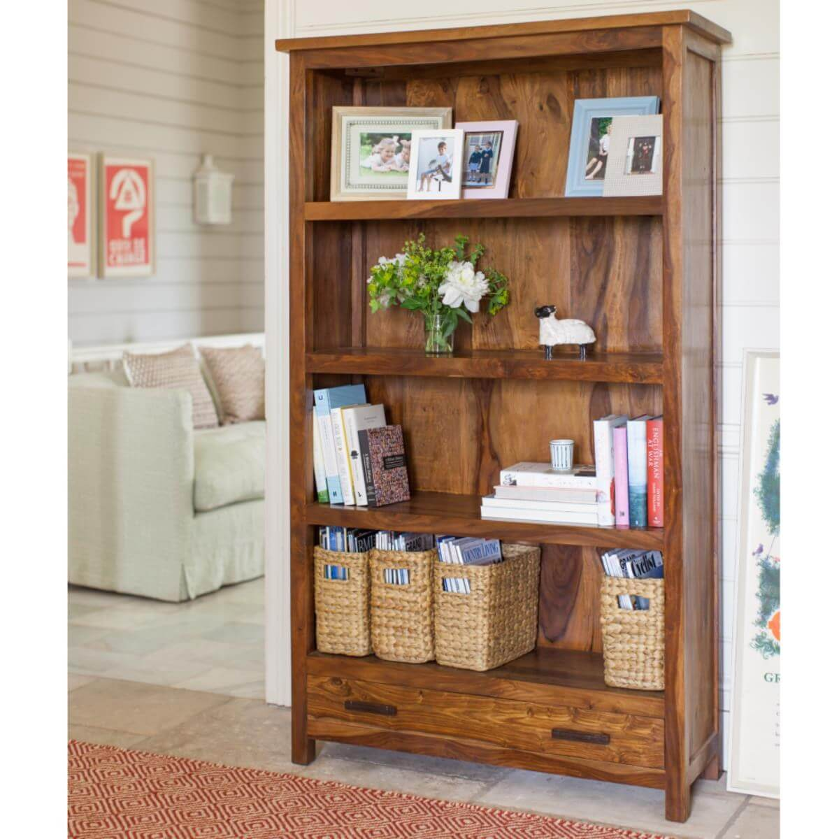 Large free-standing sheesham bookcase with a 3 shelves and a drawer