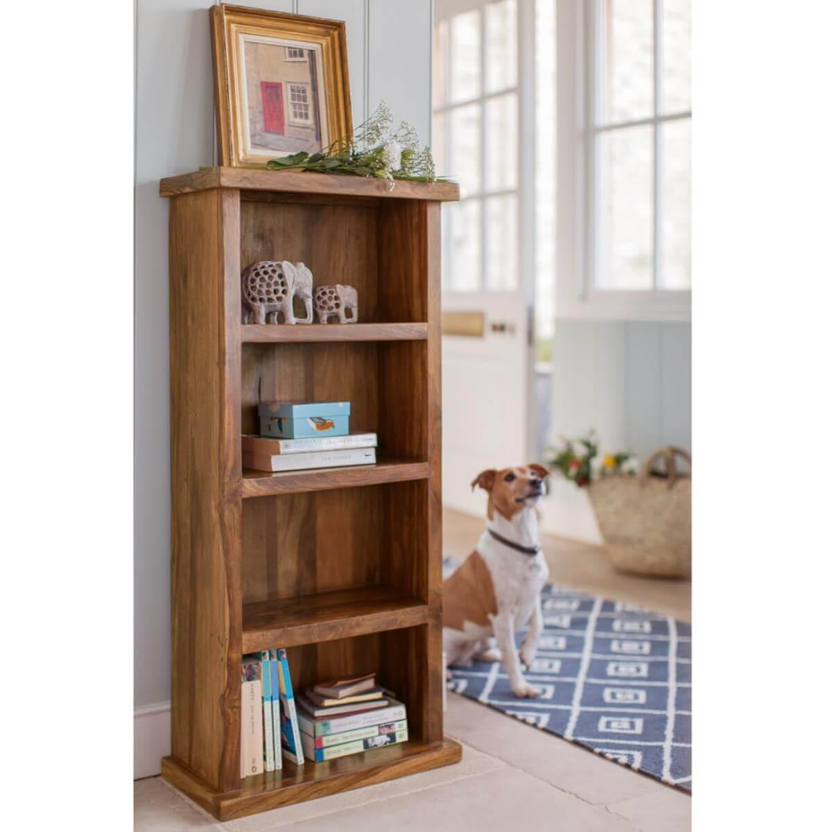 Narrow sheesham bookcase with 3 shelves