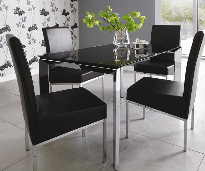Black Glass Top Dining Tables The Furniture Co : Matrix Glass Top Dining Table and 4 Chairs from thefurnitureco.uk size 660 x 550 jpeg 56kB
