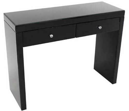 Black gloss table with 2 drawers