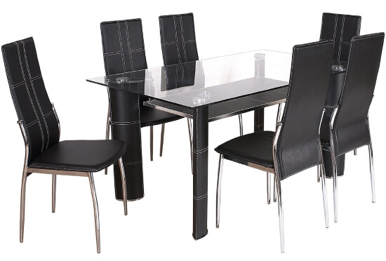 Black Glass Top Dining Tables The Furniture Co : Montana Black Chrome and Clear Glass Dining Table and 6 Chairs from thefurnitureco.uk size 550 x 372 jpeg 49kB