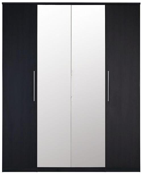 Black 4 Door Wardrobe with Central Mirrors