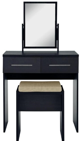 Black Dressing Table with Mirror and Stool