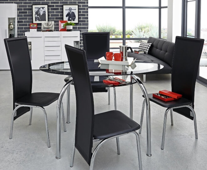 Black Glass Top Dining Tables : New Varezze Dining Table and Set of 4 Chairs from thefurnitureco.uk size 660 x 542 jpeg 81kB
