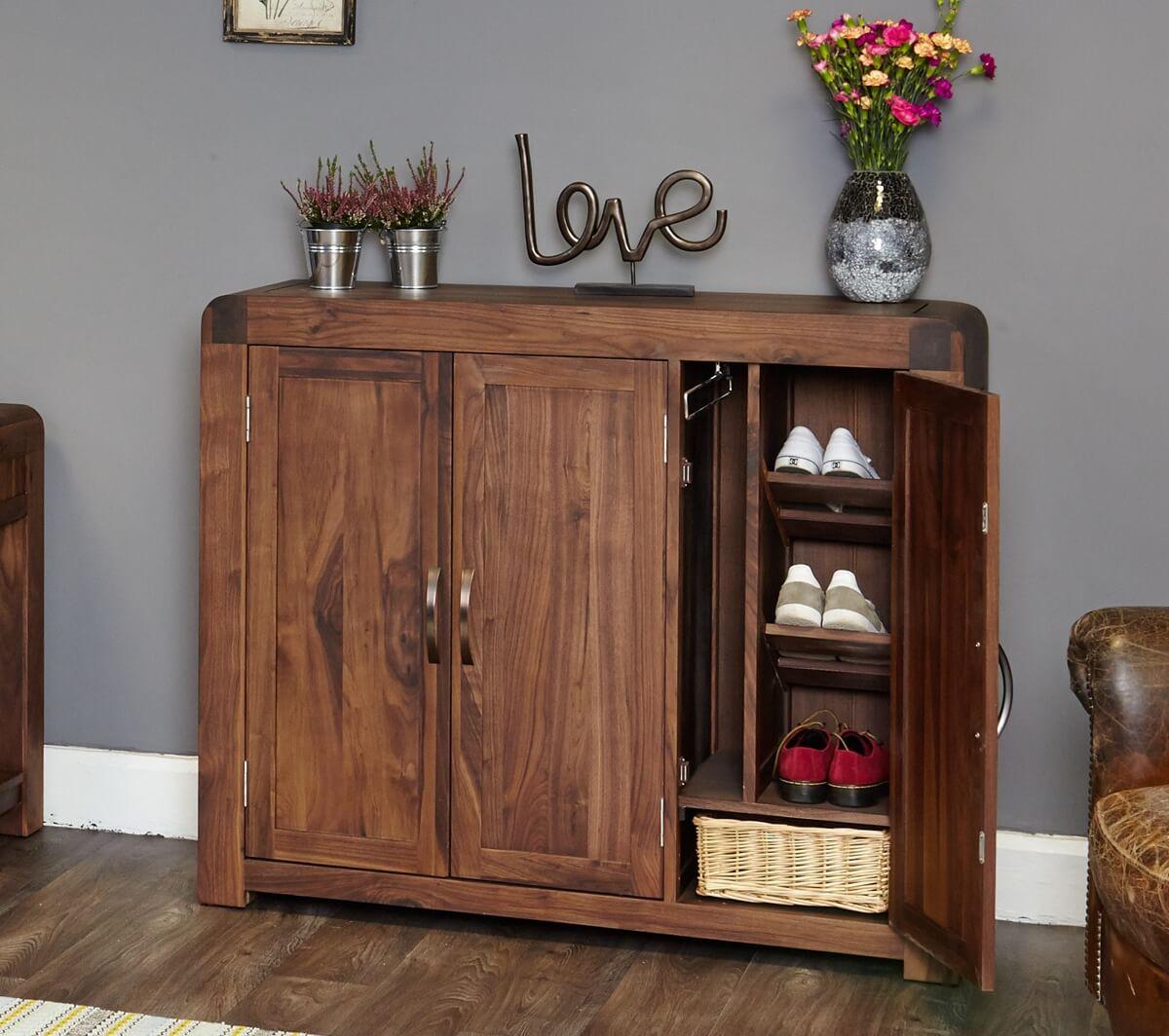 3 door solid walnut shoe cupboard