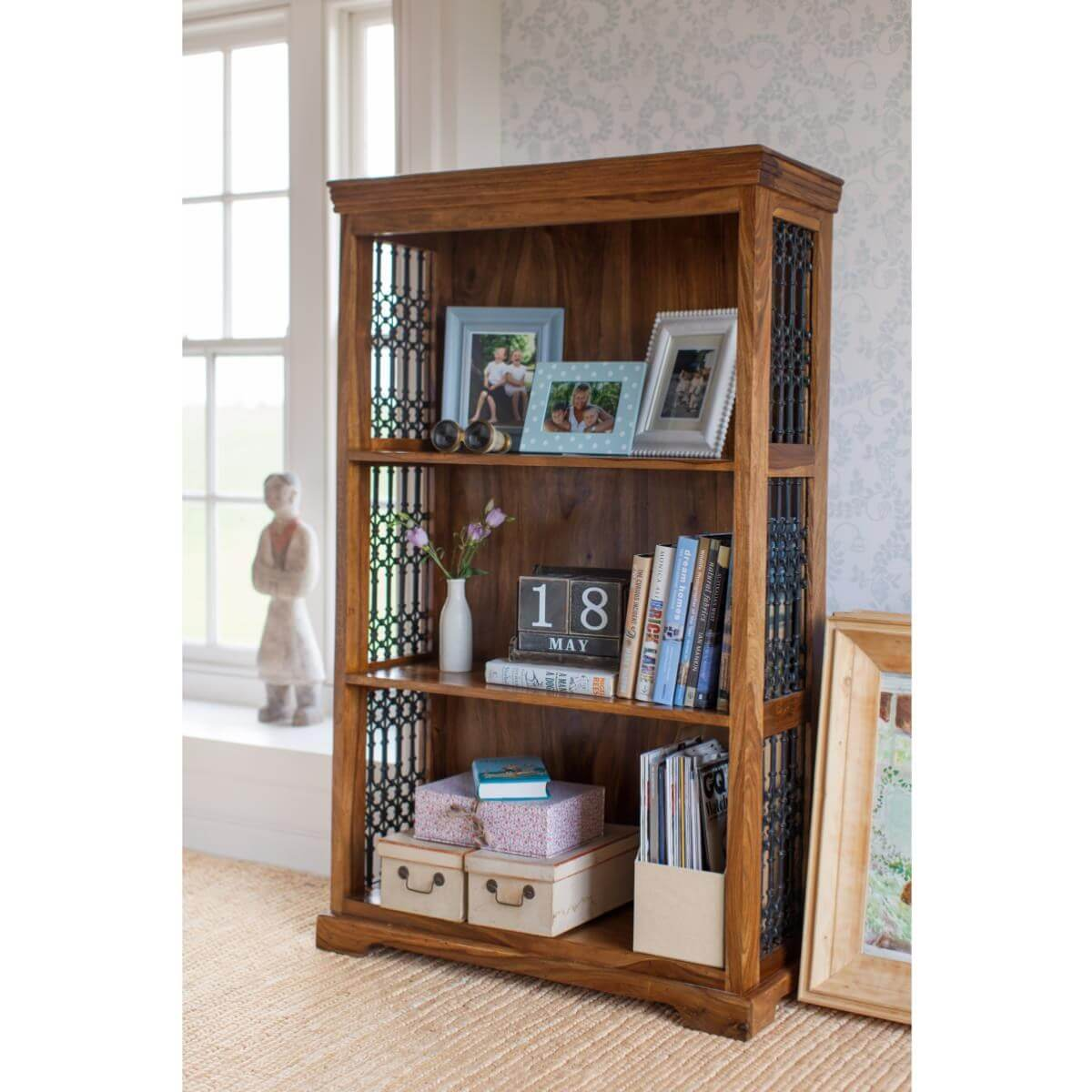 3 tier bookcase with Jali style panels in the sides