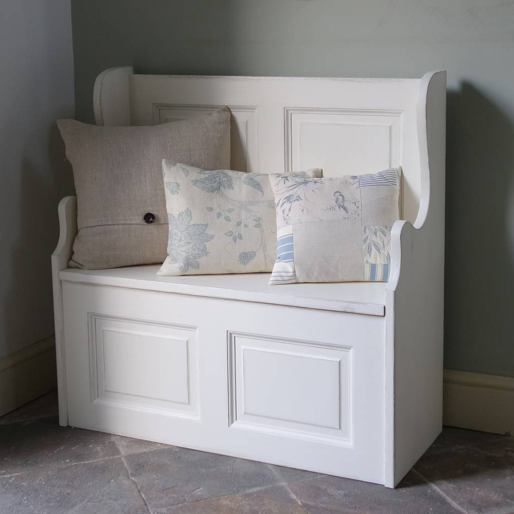 White painted monk's storage bench