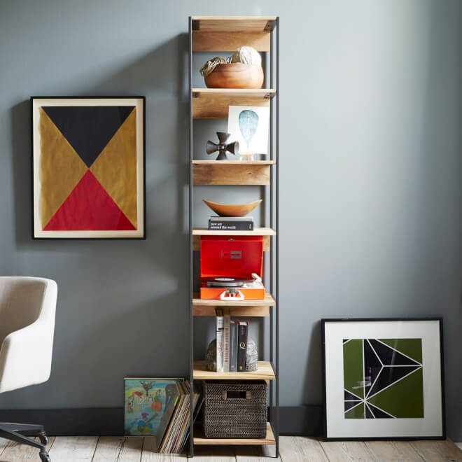 black steel and mango wood bookshelf
