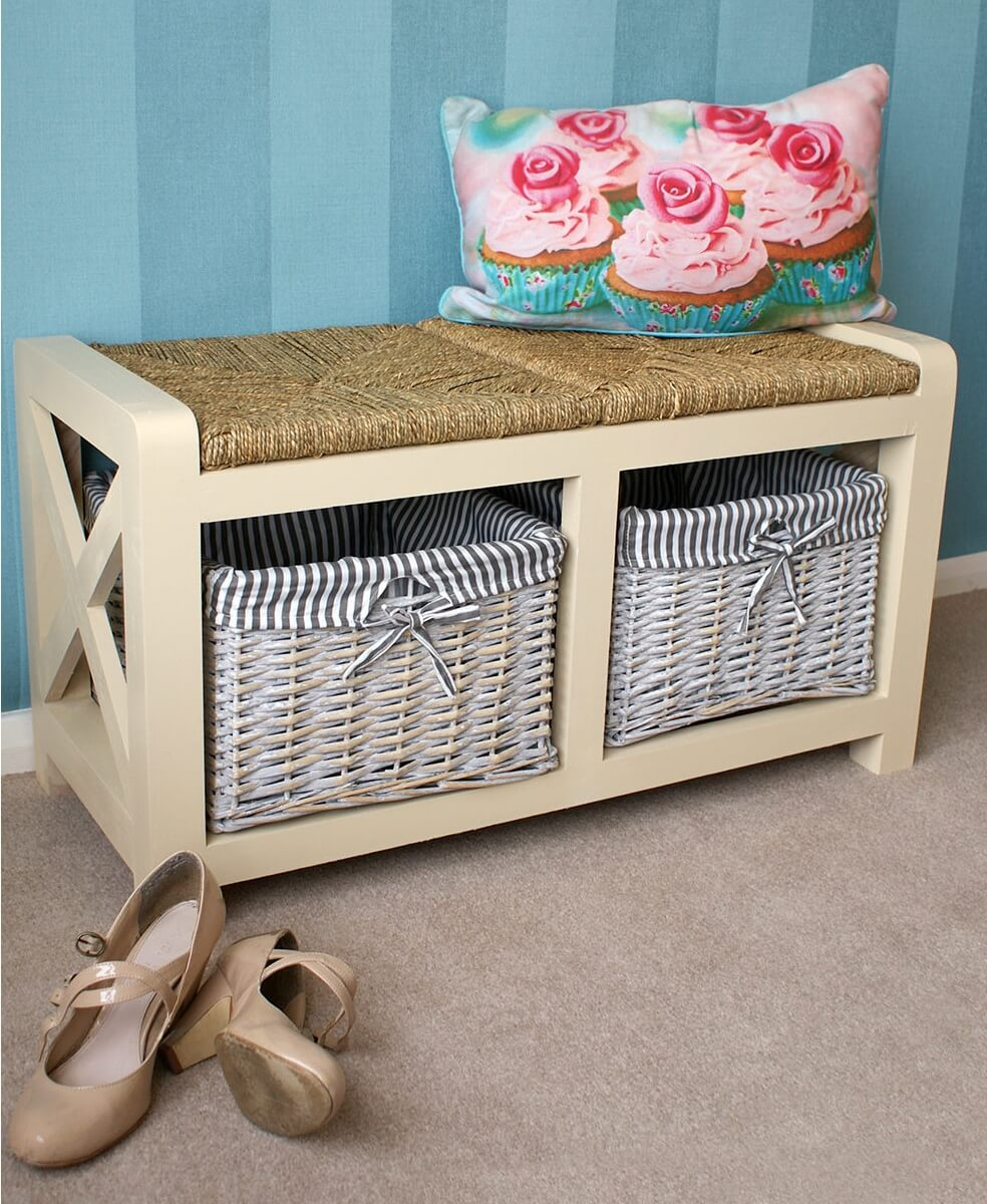 Two seater storage bench with baskets