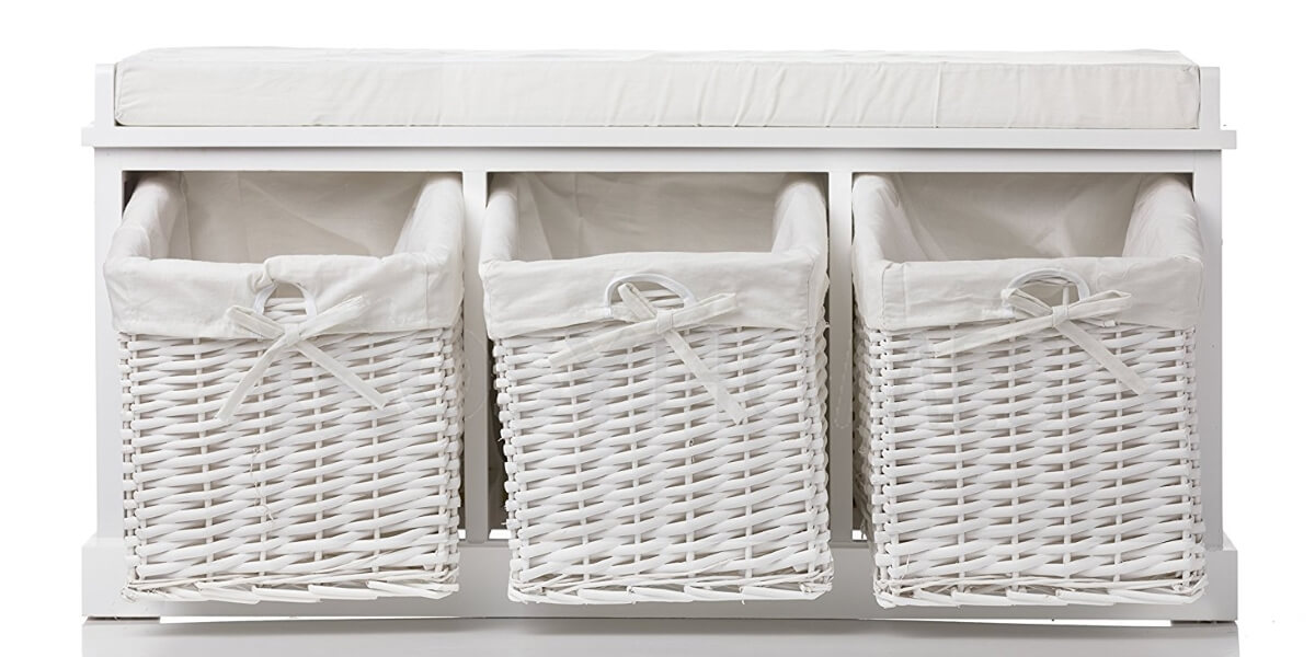 white storage bench with 3 white wicker baskets