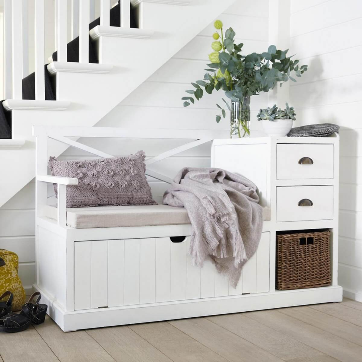 White storage bench with cupboard, basket and 2 drawers