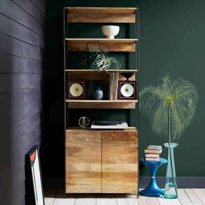 mango wood cabinet with 3 shelves